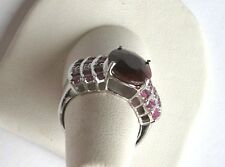 .925 Sterling Silver, 4.72ct oval Red RUBY/Diamond Accent Ring, 5.93 cttw,Sz 7