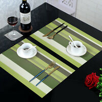 Placemats Set of 6 Woven Washbale Heat Resistant Anti slip Table Mats Green PVC