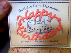 Vintage 1940s Birthday Cake Plastic HAPPY BIRTHDAY in pink, original card