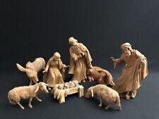~*~8 Pc. 7� Scale Wood Carved Nativity Set Natural —Oberammergau — Anri Style~*~