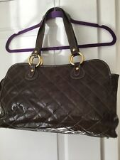 Maurizio Taiuti handbag Brown Patent Leather with Gold Accents Made italy