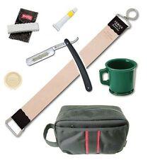 """Dovo Straight Razor Paste Rubber Mug Stone Jemico Leather Strop 18"""" Kit"""
