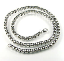 Massive Damen Herren Edelstahl Kasten Halskette poliert mit Karabinerverschluß