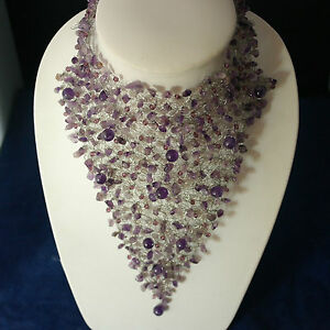 """Superb Amethyst And Crystal Choker Necklace 8""""x7""""Inches Wide By PierLuigi Design"""
