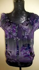 East 5th 2-piece button up blouse & tank top. Violet, black & blue, Size Small