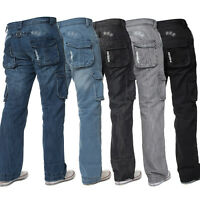 Enzo Mens Cargo Combat Jeans Casual Denim Trousers Pants All Waist Leg Sizes