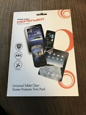 Pro/tec Defender Universal Tablet Clear Screen Protector Twin Pack