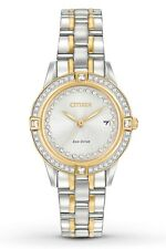 CITIZEN WOMEN'S ECO-DRIVE $325 TWO-TONE WATCH DAZZLING CRYSTALS! FE1154-57A