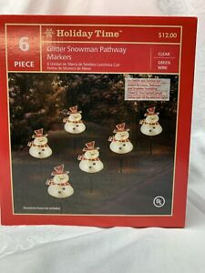 Holiday Time Light Up Glitter Snowman Pathway Markers Set of 6 per box. NEW !!!!