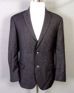 euc Jos A Bank Joseph Dark Gray Fine Check Blazer Wool 5% Cashmere Slim Fit 42 S