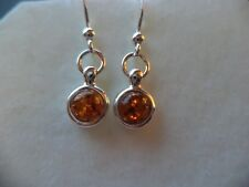 Cognac BALTIC AMBER 925 stamp Sterling Silver Classic round HOOK Dangle EARRINGS