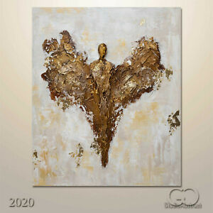 3D Abstract Original Canvas Art Religious Wall Art Painting Angel Texture 762