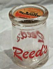 Vintage REED's Restaurant Mini Glass Creamer Bottle w Cap #14 On The Bottom