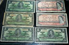 Bank of Canada $1 (1937) &  $2 (1954)   SIX-  banknotes