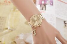 Jewerly Fashion Bling Crystal Women Lady Girl Analog Leather Quartz Watch Gift