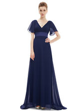 Ever-Pretty Long Chiffon Double V-neck Bridesmaid Party Dress Evening Gown 09890 Navy Blue 18