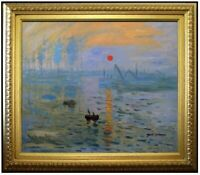 Framed Hand Painted Oil Painting Repro Monet Impression Sunrise 20x24in