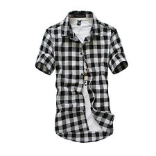Fashion Summer Mens Stylish Classic Plaid Check Casual Short Sleeve Dress Shirt