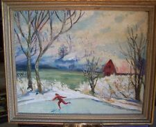SUPERB 20TH CENTURY WINTER PASTORAL SCENE FRAMED OIL ON CANVAS BOARD PAINTING