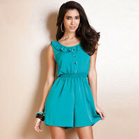 RRP £34.99 - Lili Women's Size 12 Green Button Front Playsuit