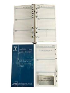 UNDATED (Any Year) Week in View Diary Insert A6 (95x170mm) Personal Filofax size