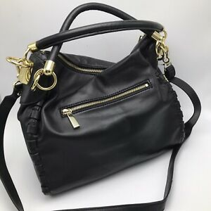 Vince Camuto Black Leather Hobo Shoulder Bag Crossbody Tote Gold Hardware XL