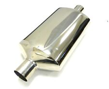 """OBX Universal Oval Muffler W/ Neck, No Tip! Seamless 2.5"""" Inlet/Outlet"""