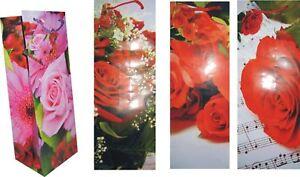 12/ 24/ 48 Flaschen Geschenktaschen Geschenktüten ROSEN, 4 Motive + Karte