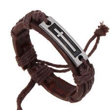Hot Vintage Genuine Leather Cross Bracelet for Men Women Prayer Jewelry Gift
