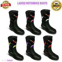 Women Motorbike Leather Boots Ladies Waterproof Motorcycle Racing Shoes Armoured