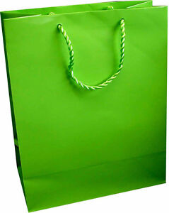 10 x Gloss Laminate Large Gift Bag - A4 Lime