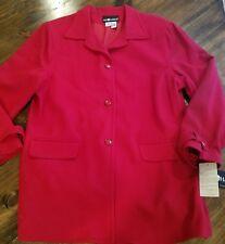 Sag Harbor red wool long blazer jacket size 18