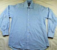 Burberry London Mens 15.5 L Plaid Blue Dress Shirt Button Down Made in USA EUC