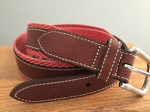 NWT Vineyard Vines Mens Chevron Webbing Belt - Jetty Red Szs. 34 $98.50 (19V)