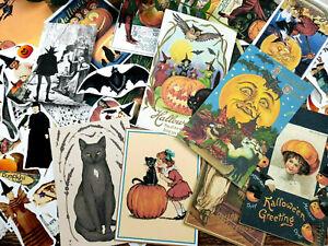 50 Vintage Halloween Ephemera Witches Spooky junk journal card making