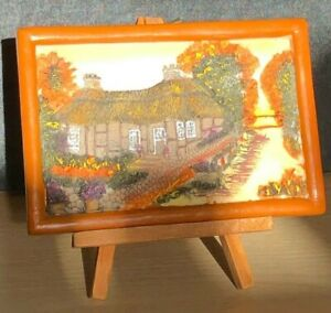 Resin Hand Painted 3D Thatched Cottage Scene in Frame 15x10cm on Wooden Stand