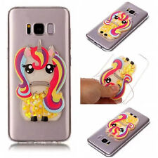 Rainbow 3D Unicorn Pony Dynamic Liquid Soft TPU Case For Various Mobile phones