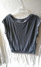 Apana Yoga Style Gray Workout Crossfit  Rolled Sleeve Top Tee Size Large