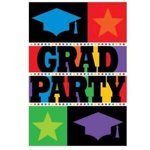 Bright Grad Congrats Hat Stars School Graduation Party Invitations w/Envelopes
