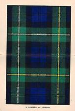 "Johnston's ""Scottish Clans & Tartans"" - ""CAMPBELL of LOUDOUN "" - Chromo - c1890"