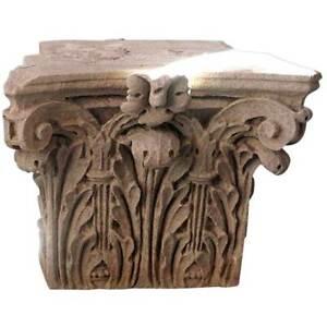 Antique American Limestone Corinthian Architectural Pilaster Capital c. 1900