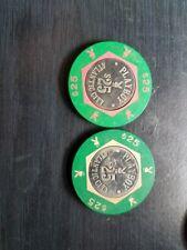 Old $25 PLAYBOY Casino Poker Chips Vintage Antique BJ Mold Atlantic City NJ 1980