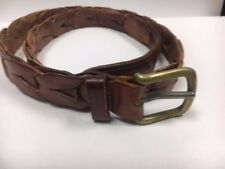 "Polo Ralph Lauren Belt Size 36 Brown Leather Braided Woven 41"" long w/o buckle"