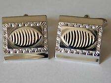 Square silvertone cufflinks with cut pattern q