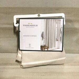 "Threshold Neutral Striped Fabric Shower Curtain 72"" X 72"" Beige White Cotton"