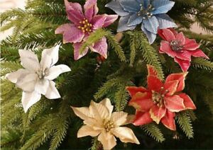 10X Poinsettia Artificial Flowers Decorations Ornaments Party Glitter Home Decor