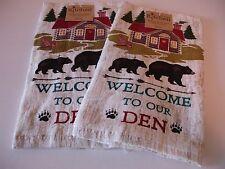 kay dee designs kitchen towels. New  Set 2 Welcome Den Cabin Brown Black Bear Kitchen Kay Dee Designs Embroidered Tea Towels EBay