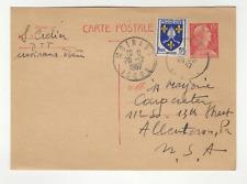 France 1 timbre et 1 entier postal sur carte postale 1957 tampon Moirans /L601