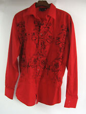 Patroncito USA Sz L Shirt Red L/S Button Front Embroidered Black Wings Western