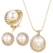 Schmuck Set Perlen Collier Kette Ring Ohrringe Zirkonia 750er Gold 18K vergoldet